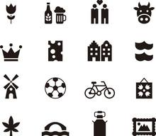 NETHERLANDS Glyph Flat Icons