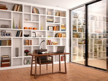 3d Illustration Of Bright Interior Library Office With White She