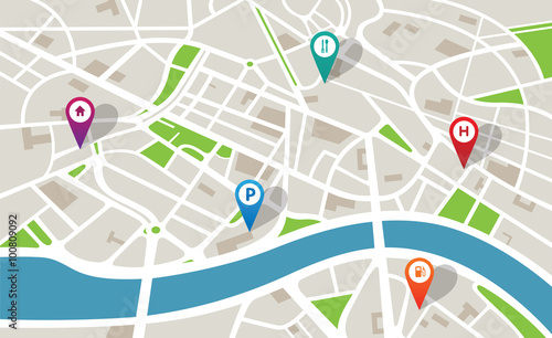 Mapa miasta z ikonami nawigacji