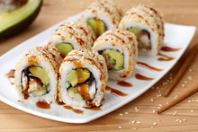 California Sushi Roll With Eel, Avocado And Cucumber