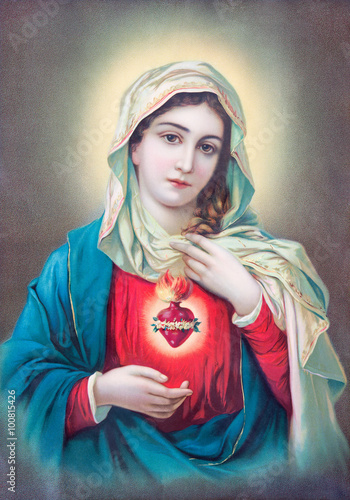 SEBECHLEBY, SLOVAKIA - JULY 27, 2015: Typical catholic image of heart of Virgin Mary from Slovakia printed in Germany from the begin of 20. cent. originally by unknown artist. - 100815426