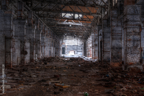 Dilapidated workshop of the abandoned factory