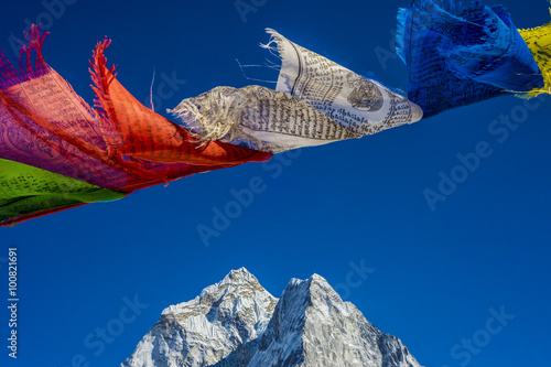 Photo  Prayer flags in the Himalayas with Ama Dablam peak in the backgr