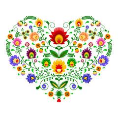 Polski folklor - wzór w kształcie serca