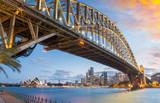Magnificence of Harbour Bridge at dusk, Sydney