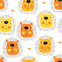Fototapetaseamless cute lion cartoon pattern vector illustration