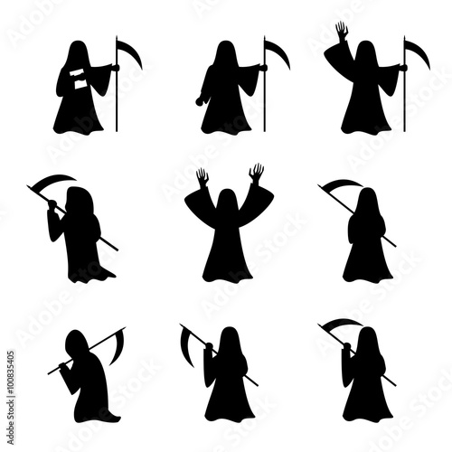 Photo  Set of Grim Reaper in silhouette style