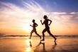 runners on the beach, sport and healthy lifestyle