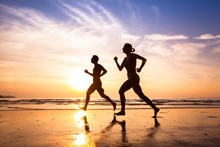 Runners On The Beach, Sport An...