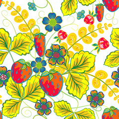 Excellent seamless pattern with hand drawing orange red strawberry, blue flowers and yellow leaves on white background