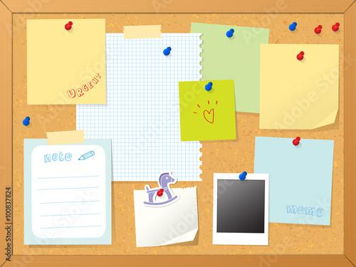 Foto  cork board & post it note vector illustration background