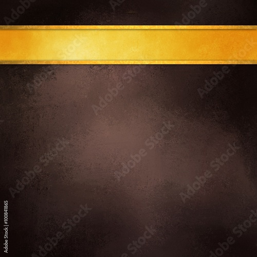 Brown Background With Gold Ribbon Elegant Rich Dark Coffee Color Shiny Blank Stripe