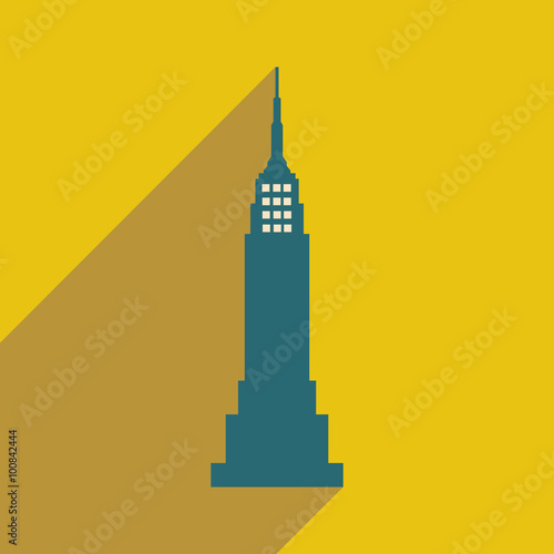 Valokuva  flat icon with long shadow American skyscraper