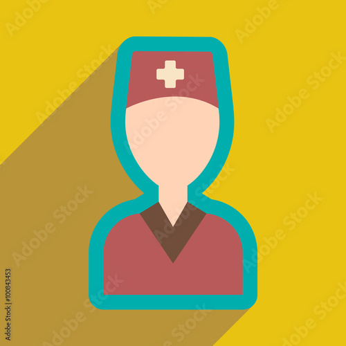 Fotografie, Obraz  flat icon with long shadow obstetrician doctor
