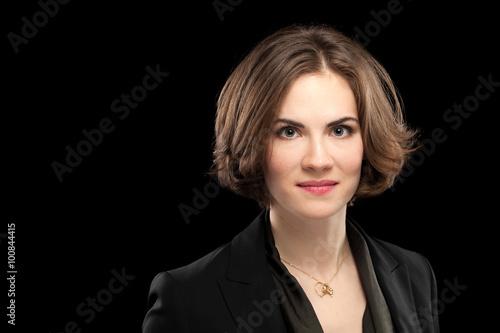Fotografie, Obraz  Pretty Model Corporate Headshot Black Background