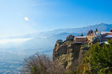 Fototapeta na wymiar Beautiful Meteora mountains, sunshine landscape. Nature of Greec