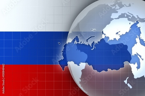 Russia map and flag on a world globe news background buy this russia map and flag on a world globe news background gumiabroncs Images