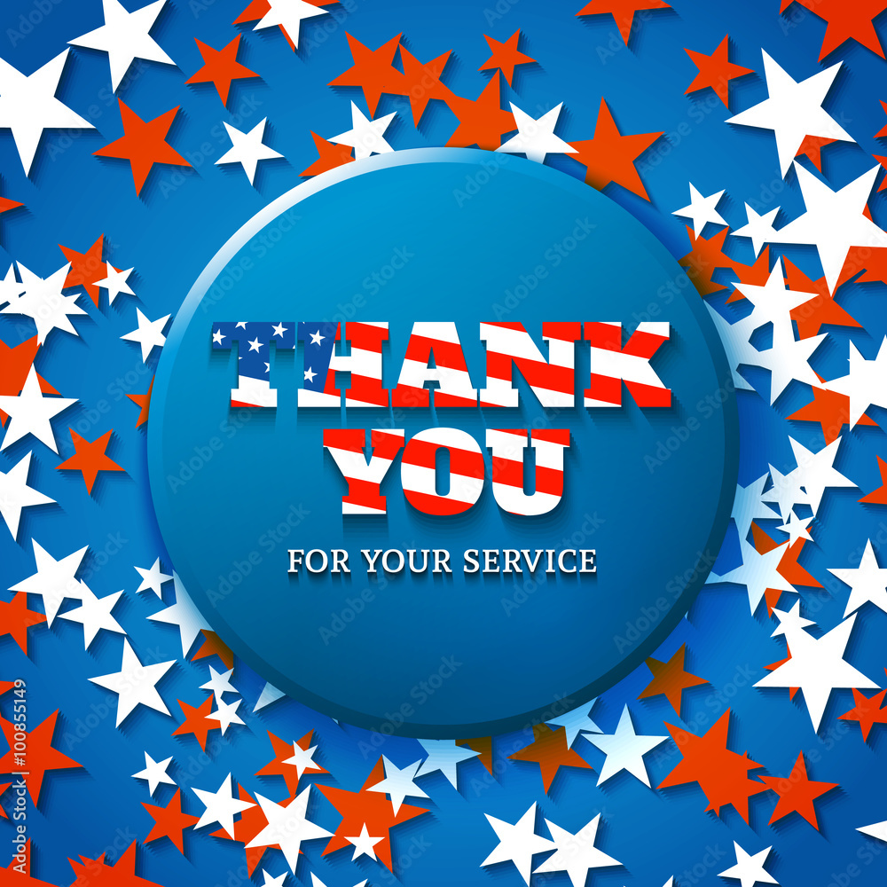 Thank You For Your Service Military Appreciation Card With Star Wall Mural Kasha Malasha