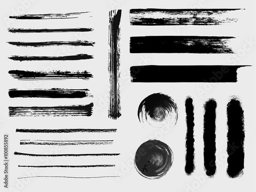 Fotografie, Obraz  Set of grungy vector brushes