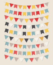 Vector Bunting Party Flags Set...
