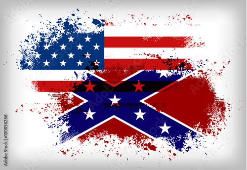 Fotografie, Tablou  Confederate flag vs. Union flag. Civil war concept