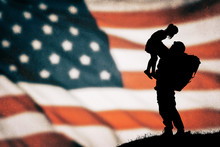American Soldier Silhouette On...