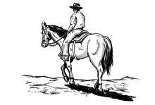 Drawing Of Cowboy Riding Horse, Vector