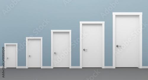 Fotomural Five doors white.