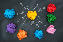 New Good Ideas, Colorful Paper Ball On Blackboard