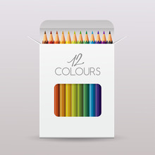 Colored Pencil Packaging : Paper Box : Vector Illustration