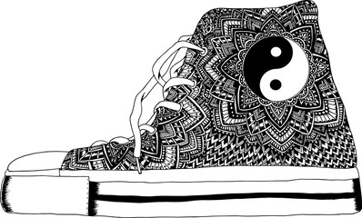 Fototapeta Do pokoju młodzieżowego Hand drawn outline ornamental shoe illustration.