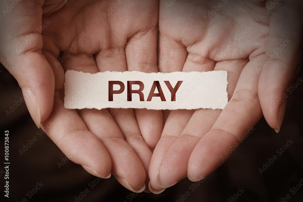 Fototapety, obrazy: Pray text on hand