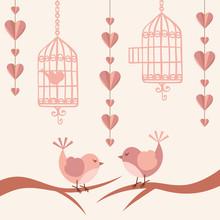 Love Card With Birds