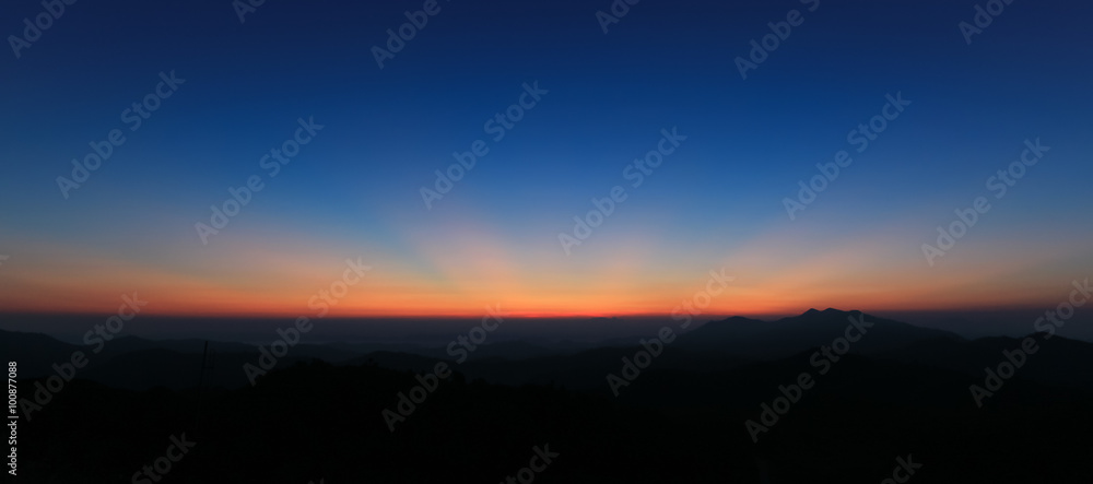 Fototapety, obrazy: Panorama of colorful sky above mountain just before sunrise