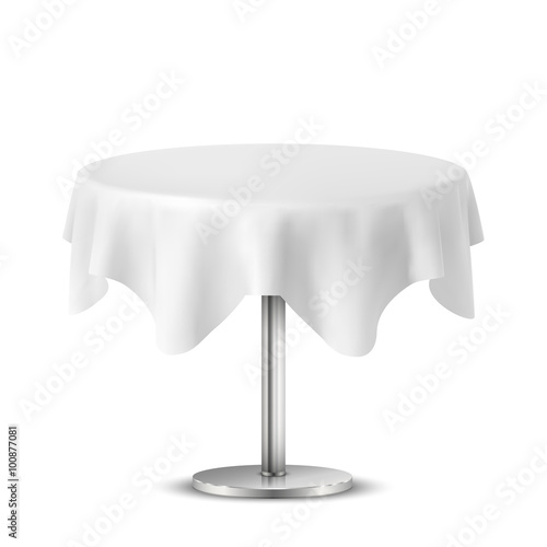 Round Table With Tablecloth.Empty Round Table With Tablecloth Isolated On White Background Buy