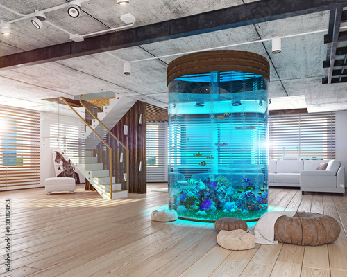 Foto The loft interior with aquarium