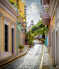 Fototapeta Colorful street in old San Juan, Puerto Rico