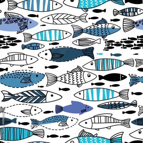 Podwodny wzór z rybami. Jednolity wzór może służyć do tapet, tła strony internetowej