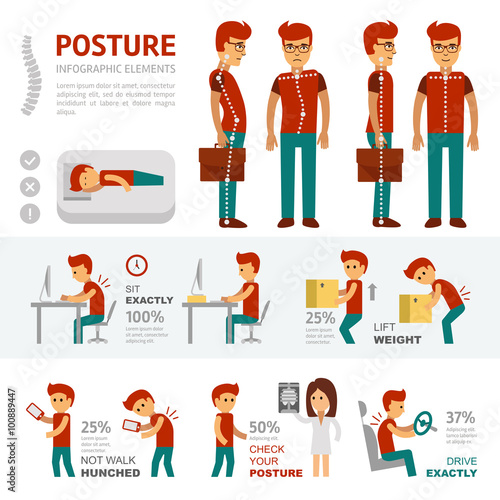 Fotografía  Posture infographic elements