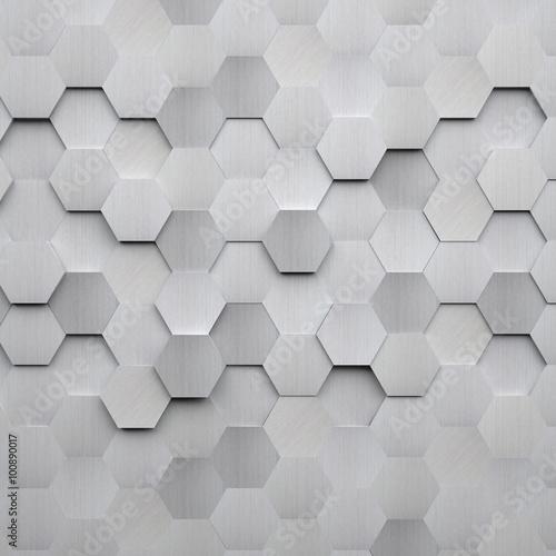 Foto op Aluminium Metal Brushed Metal Hexagon Background
