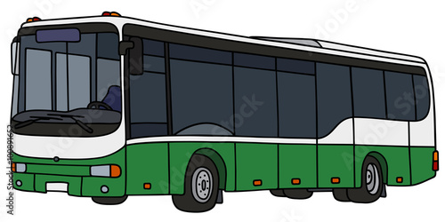 Fotografia, Obraz  Green city bus / Hand drawing, vector illustration