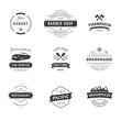 Set of Minimal Vintage Hipster Logotype Templates. Black on White Colors. Food, Car, Travel, Barber Shop
