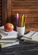 Child domestic workplace and accessories for training and education - books, notebooks, notepads, colored pencils, pens, rulers and a fresh red apple.