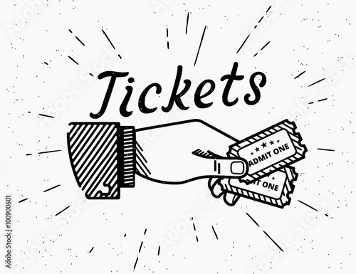 Fotografie, Obraz  Retro grunge illustration of human hand with two tickets