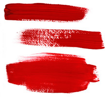 Set Of Abstract Red Paint Brus...
