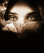 Woman With Veil And Beautiful Eyes