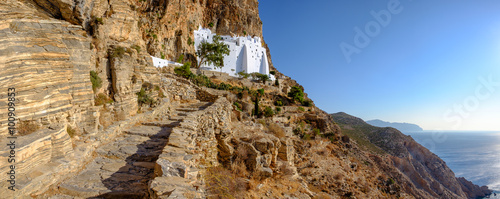 Panoramic view of Panagia Hozoviotissa monastery on Amorgos isla Wallpaper Mural