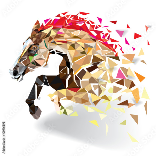 фотография Horse in geometric pattern style. vector eps 10
