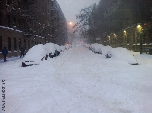 Snow street in New York City