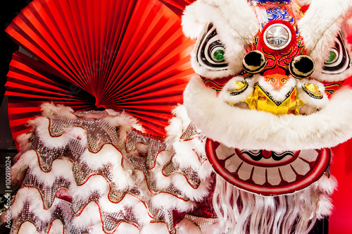 Fotografie, Tablou  Traditional colorful Chinese new year lion with red fan